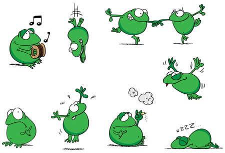 Illustrazione vettoriale completamente modificabile di una collezione di rane cartoni animati in varie pose.