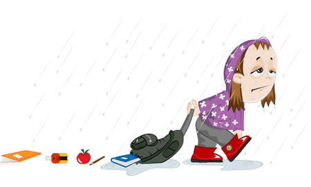 A sad girl is going to school under the rain. Her backpack is torn and she is losing her books on the street. Stock Vector - 16708977