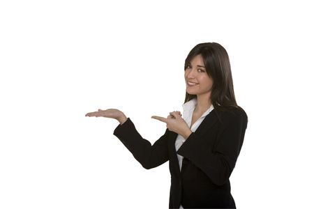 gesturing: young woman pointing,gesturing Stock Photo