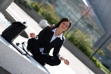 young businesswoman meditating Stock Photo - 3009376