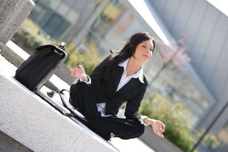 young businesswoman meditating Stock Photo - 3009375