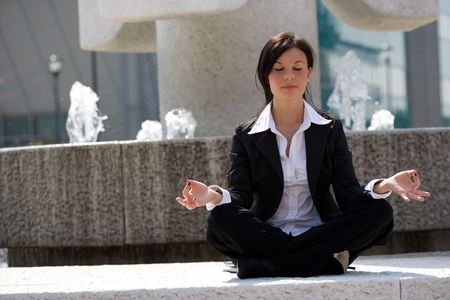 young businesswoman meditating Stock Photo - 3009384