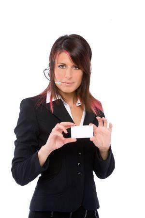 trustable: Retrato de un centro de llamadas que muestra una ni�a businesscard
