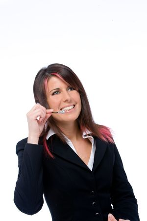 courtesy: portrait of a call center girl Stock Photo