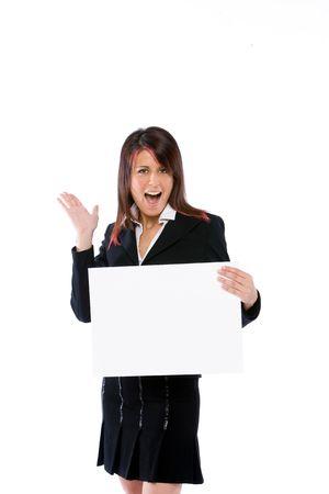 trustable: joven mujer de negocios la celebraci�n de una valla