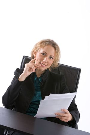 young businesswoman seated smiling photo