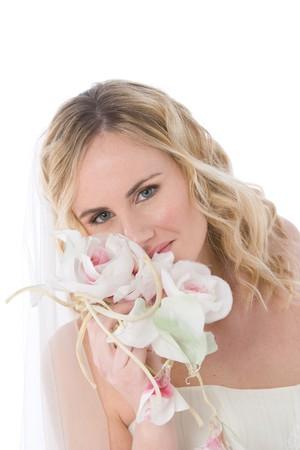 studio shot of a bride isolated on white background photo