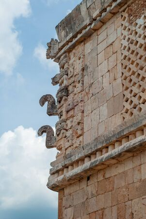 Decorations of a Mayan temple, symbolizing elephants, of the archaeological area of Ek Balam, in the Yucatan peninsula