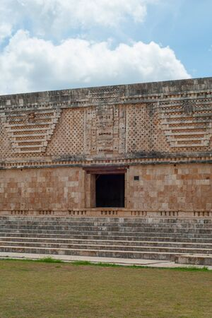 Facade of a Maya building, in the archaeological area of Ek Balam, on the Yucatan peninsula