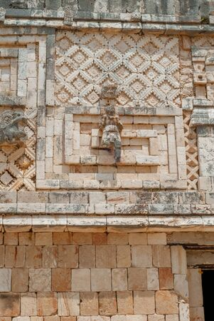 Details of architectural decorations of a Mayan building, in the archaeological area of Ek Balam, on the Yucatan peninsula