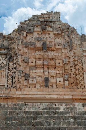 Details of Mayan sculptures, symbolizing men, in the archaeological area of Ek Balam, on the Yucatan peninsula