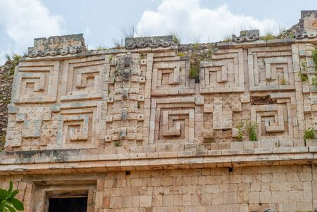 Details of the decorations of temples, in the archaeological area of Uxmal, in the Mexican Yucatan peninsula