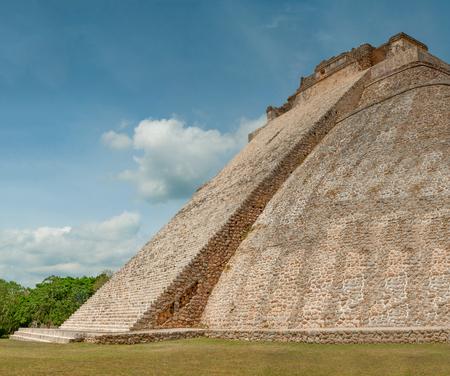 Rear profile of the great Mayan Pyramid, in the archaeological area of Ek Balam, in the Yucatan peninsula