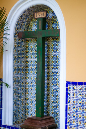Christian Cross, imported by Spanish settlers in Mexico, taken from Tecoh, in the Yucatan peninsula Stock Photo