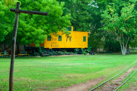 Old train for the transport of Agave leaves, taken in the Tecoh plantations, in the Yucatan peninsula