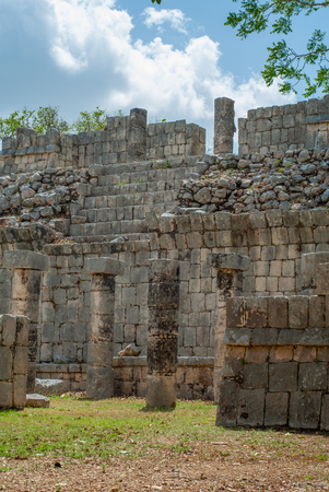Remains of Maya buildings, in the archaeological area of Chichen Itza, on the Yucatan peninsula