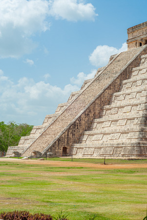 Entrance scale of the Mayan Pyramid of Kukulkan, known as El Castillo, classified as Structure 5B18, taken in the archaeological area of Chichen Itza, in the Yucatan peninsula
