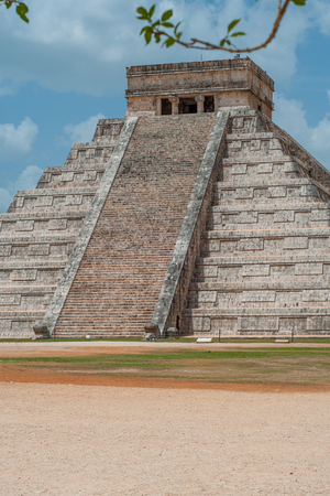 Front part of the Mayan Pyramid of Kukulkan, known as El Castillo, classified as Structure 5B18, taken in the archaeological area of Chichen Itza, in the Yucatan peninsula