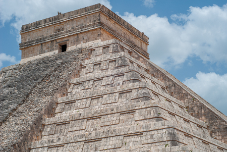 Summit of the Mayan Pyramid of Kukulkan, known as El Castillo, classified as Structure 5B18, taken in the archaeological area of Chichen Itza, in the Yucatan peninsula