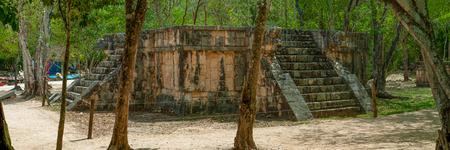 Aperçu d'un ancien autel maya, pris dans la zone archéologique de Chichen Itza, dans la péninsule du Yucatan