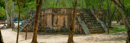 Overview of an ancient Mayan altar, taken in the archaeological area of Chichen Itza, in the Yucatan peninsula