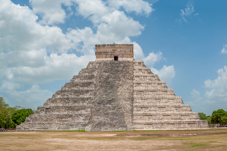 Shooting of the Mayan Pyramid of Kukulkan, known as El Castillo, classified as Structure 5B18, with visible the restored side and the original side, in the archaeological area of Chichen Itza, in the Yucatan peninsula