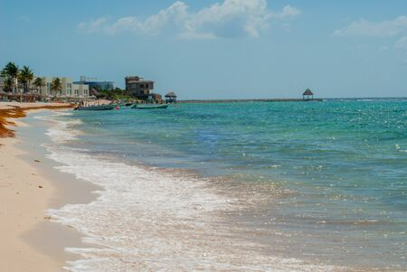 Seascape of Tulum, in the Mexican peninsula of Yucatan