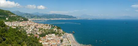 Panorama of the Gulf of Salerno, seen from the city of Raito, during a sunny summer day