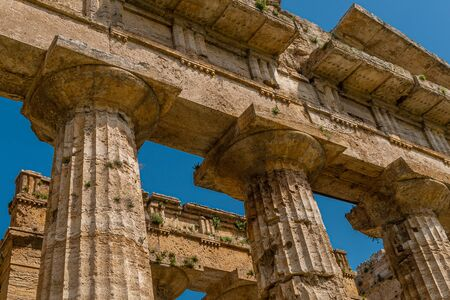Detail of the columns of the Temple of Neptune, the Greek God of the waters, taken in the archaeological area of Paestum