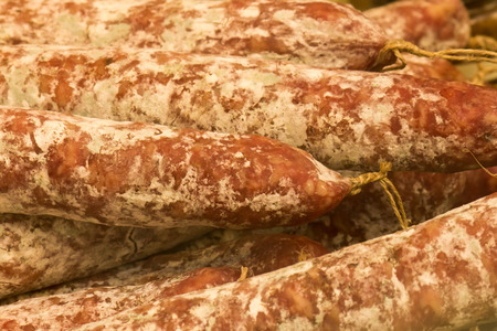 butcher s shop: Salami Stock Photo