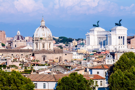 altar of fatherland: view of Rome with the altar of the fatherland Stock Photo
