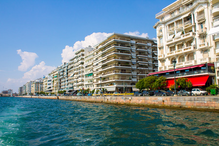 Seafront of Thessaloniki in Greece, view from the sea