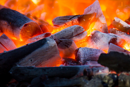 ember: wood and coal burning in a BBQ