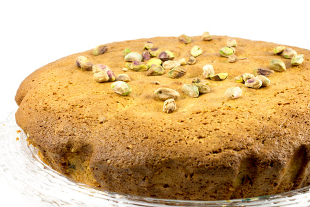 shop tender: close-up of a sweet and soft pistachio cake
