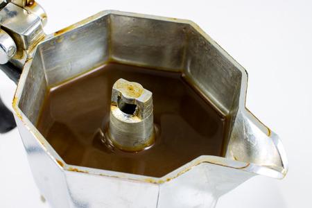 decaffeinated: closeup of a moka pot with coffee Stock Photo