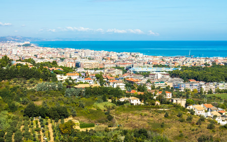 view of the city of Pescara in Italy, with the Adriatic Sea in the background 写真素材