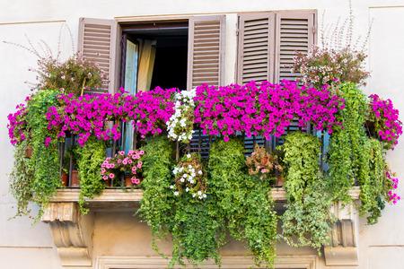 a Flowery balcony in a city street photo