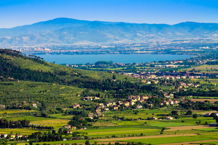 View of Valdichiana with Trasimeno lake, in Italy