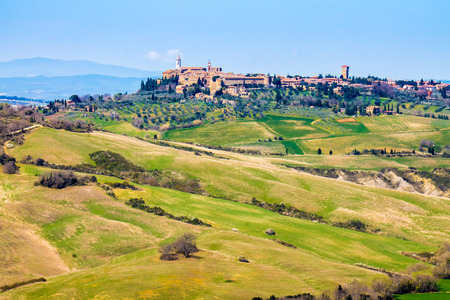pienza: tuscan landscape, view of Pienza town in the Val DOrcia