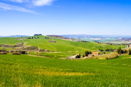 val dorcia: tuscan landscape, view of the green Val DOrcia Stock Photo