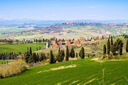 val dorcia: tuscan landscape, view of the green Val DOrcia with Monticchiello and Pienza town in the background