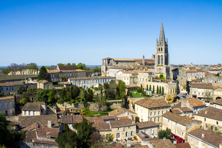 cityscape of Saint-Emilion, Typical town near Bordeaux in France, famous for the viticulture