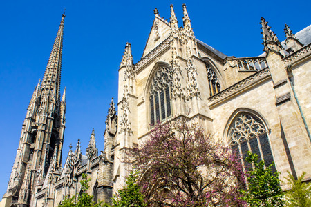 way of st james: Facade of The Saint-Michel Basilica in Bordeaux, as an intermediate goal of voie de Tours, one of the routes to Santiago de Compostela in France