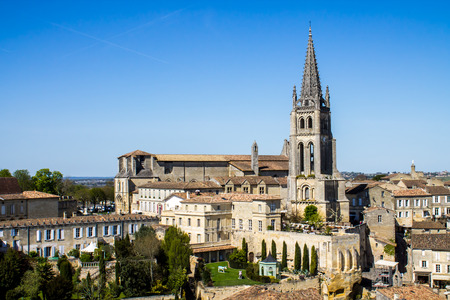 saint emilion: View of the bell tower of the monolithic church in Saint Emilion, Bordeaux, France Stock Photo