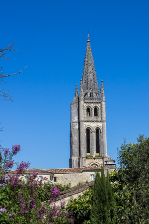 monolithic: the bell tower of the monolithic church in Saint Emilion, Bordeaux, France