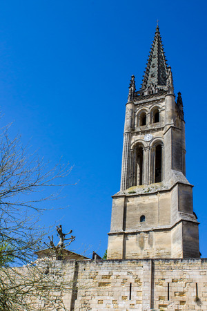 saint emilion: the bell tower of the monolithic church in Saint Emilion, Bordeaux, France