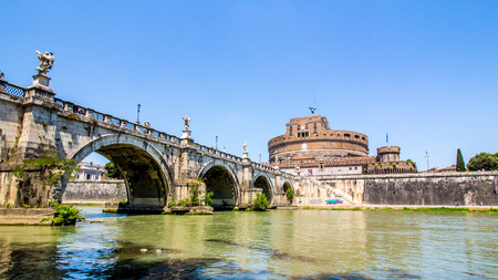 view of Castel SantAngelo from under the bridge of the Tiber, Rome, Italy Editorial