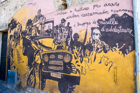 ORGOSOLO, ITALY - JUNE 26, 2015 - typical wall paintings on the streets of Orgosolo, in Sardinia, Italy