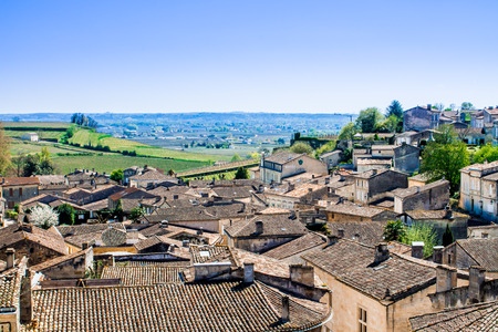 patrimony: cityscape of Saint-Emilion near Bordeaux in France with a panoramic view of the vineyard