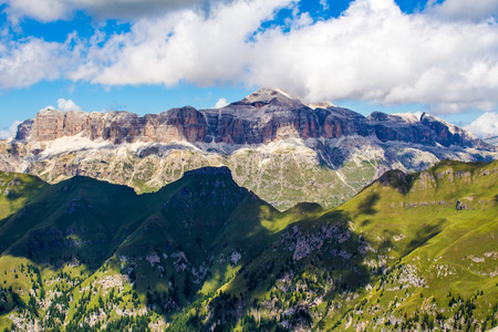 massif: panoramic view of the Sella group, a massif in the Dolomites mountains of northern Italy